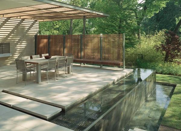 Ogrody w nowoczesnym stylu z aran acjami wodnymi ogrody for Pool room design uk